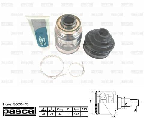 PASCAL G80304PC Gelenksatz, Antriebswelle Gelenk, Antriebsgelenk, Gelenksatz Antriebswelle