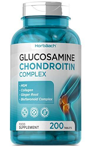 Glucosamine & Chondroitin Complex | 200 Tablets | with MSM, Collagen & Ginger Root | Non-GMO, Gluten Free Supplement