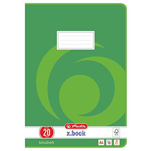 Herlitz 3322005 Schulheft  (A4, blanko, Lineatur 20) 16 Blatt,  10er Packung