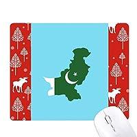 パキスタン地図プレート国旗国 クリスマス森嶺