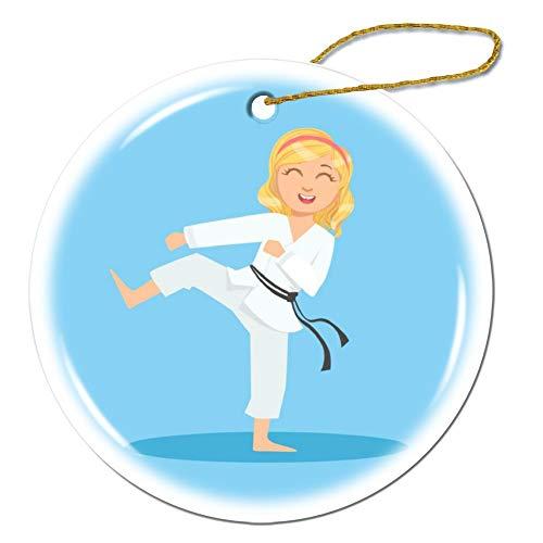 wendana meisje in wit kimono doen been sidekick op karate ronde keramische kerst ornamenten Keepsake ornamenten kerstboom decoraties kerstboom geschenken voor kinderen vrouwen tiener meisjes
