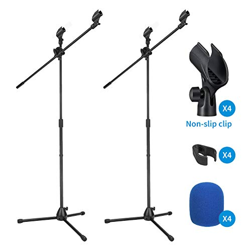 2-Pack Moukey Mic Stand, Tripod Boom Microphone Stands with 4 Non-Slip Mic Clip,4 Foam cover, Adjustable, Collapsible, For shure sm7b / sm58 (Black)