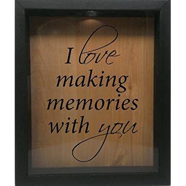 Wooden Shadow Box Wine Cork/Bottle Cap Holder 9x11 - I Love Making Memories With You (Ebony w/Black)