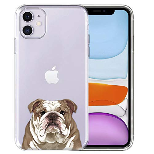 FINCIBO Case Compatible with Apple iPhone 11 6.1 inch 2019, Clear Transparent TPU Silicone Protector Case Cover Soft Gel Skin for iPhone 11 (NOT FIT 11 Pro) - Cute Fawn English Bulldog