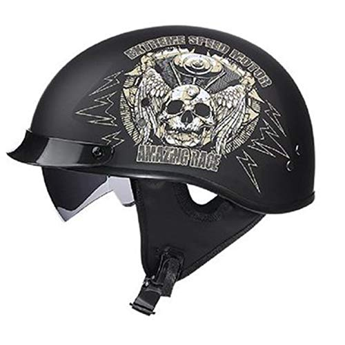 ABDOMINAL WHEEL Medio Casco Abierto,Cascos de Motocicleta con Visera Solar Incorporada Y Visera Solar Extraíble,Certificación ECE Jet Helmet Casco de Seguridad de Colisión Unisex E,XXL=(61~62CM)