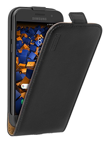 mumbi Echt Leder Flip Hülle kompatibel mit Samsung Galaxy A3 2017 Hülle Leder Tasche Hülle Wallet, schwarz