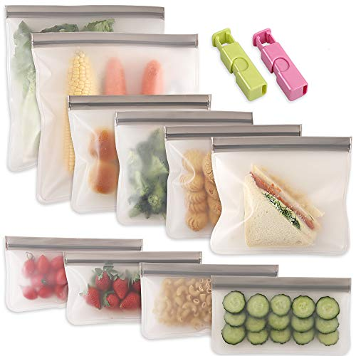 Cozihom Reusable Gallon Freezer Bags 10 Packs, Ziplock Leakproof Reusable Gallon Bags for Marinate Meats, Fruit, Sandwich, Snack, Home Organization, Eco-Friendly.