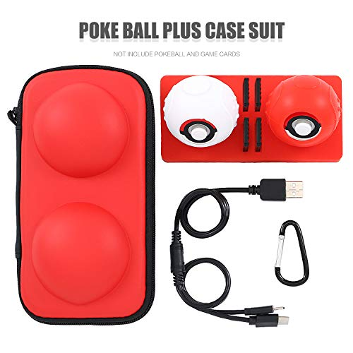 Accessories for Poke Ball Plus, Carrying Case for Poke Ball Plus with 1 Carabiner, 1 USB Cable for Pokeball Plus, 1 Dock for Pokeball Plus and 2 Silicone Case for Poke Ball Plus (6 in 1)
