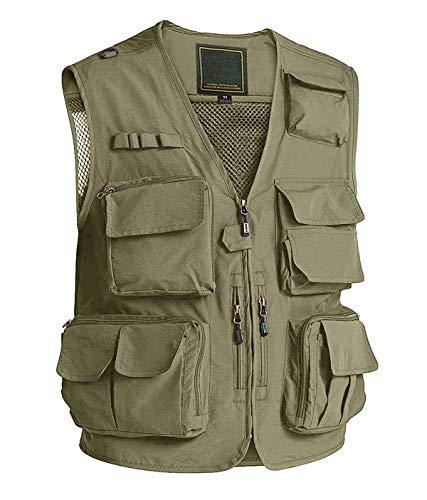 Men Outerwear Vest Lightweight Tactical Vest Mesh Breathable Fishing Vest Men Work Vest Pockets Utility Vest Tool Pockets