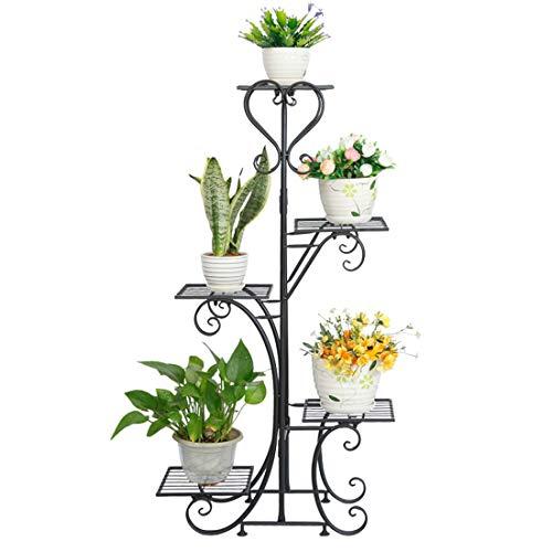 GODNECE Blumentreppe 5 Ebenen, Blumentreppe Metall Retro Pflanzentreppe Groß Draußen Innen Blumenregal Mehrstöckig, 50 x 25 x 106cm