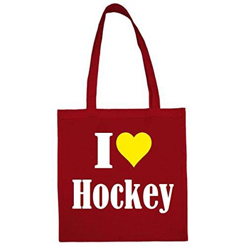 Tasche I Love Hockey Größe 38x42 Farbe Rot Druck Weiss
