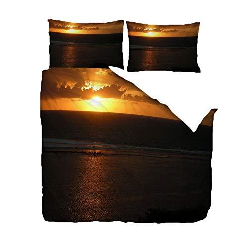 RGBVVM Funda de Nórdica 140 x 200 cm Mar de Noche Juego de Funda nórdica de Microfibra Ligera de Microfibra con Cierre de Cremallera + 2 Fundas de Almohada 50x75cm