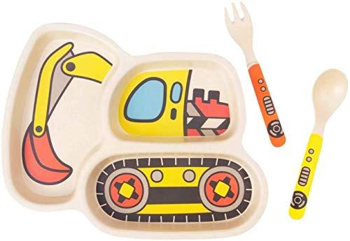 Qshare 3-Teilig Kleinkind Bambus Teller Set, Kinder Geschirr Set Geteilter Teller mit Baby Löffel und Gabel, Hergestellt aus umweltfreundlicher und BPA-freier Bambusfaser, Spülmaschinenfest Abbaubar