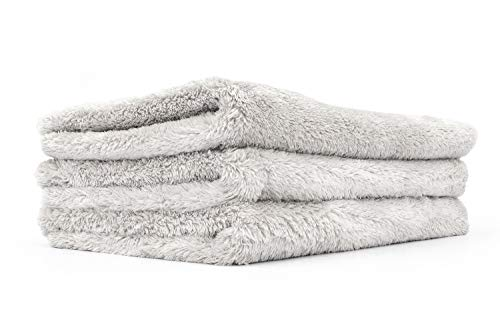 The Rag Company - Eagle Edgeless 500 - Professional Korean 70/30 Blend Super Plush Microfiber Detailing Towels, 500GSM, 16in x 24in, Ice Grey (3-Pack)