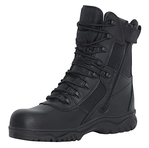 Rothco 8 Inch Forced Entry Tactical Boot with Side Zipper & Composite Toe, Black, 9