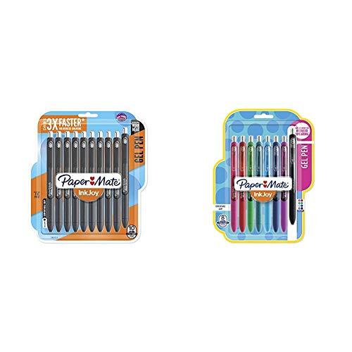 Paper Mate InkJoy Gel Pens, Fine Point, Black, 10 Count & Gel Pens, InkJoy Pens, Fine Point, Assorted Colors, 8 Count