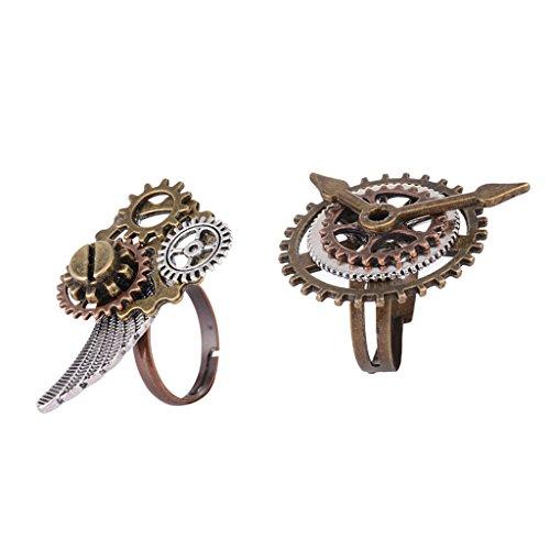 MagiDeal 2 Stück Antike Art Punk Uhrwerk Ring Einstellbare Schmuck Geschenke für Herren, Einstellbar Steampunk Stil Fingerring aus Legierung und Kupfer