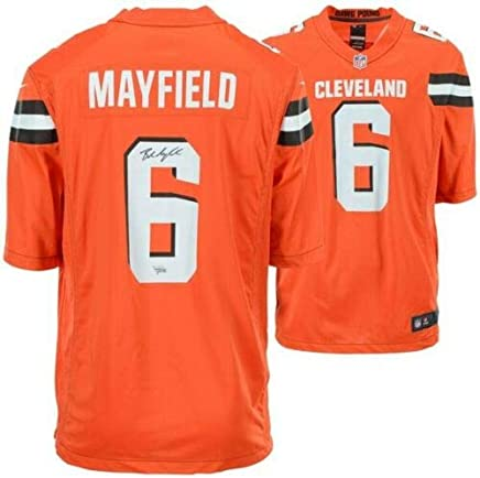BAKER MAYFIELD Autographed Cleveland Browns Nike Orange Game Jersey FANATICS 2154505fe