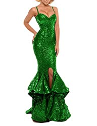 Green Sequin Prom Gown Mermaid Bodycon Dress