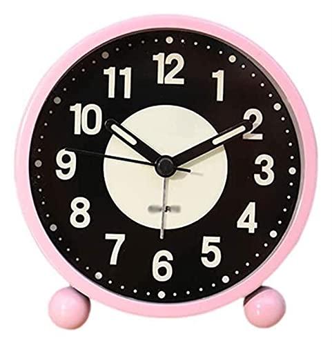 HGJINFANF Diseño de primera clase, esencial para el hogar, reloj despertador súper silencioso, reloj decorativo con funciones de luz para dormitorio y oficina (color: rosa)