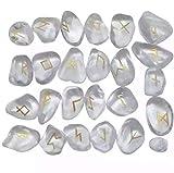 Phoenix888 - Juego de runas de cristal natural de cuarzo para adivinación