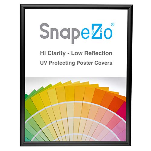 SnapeZo Poster Frame 18x24 Inches, Black 1 Inch Aluminum Profile, Front-Loading Snap Frame, Wall Mounting, Sleek Series