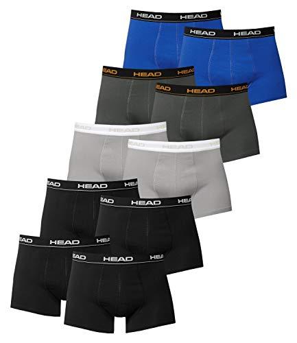 HEAD Herren Boxershorts 841001001 10er Pack, Wäschegröße:L;Artikel:4x Schwarz / 2x Grey / 2x Dark Shadow / 2x Blue/Black