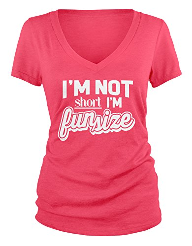 Amdesco Junior's I'm Not Short I'm Fun Size V-Neck T-Shirt, Azalea Small