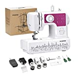 Kylinton Sewing Machine, Mini Sewing Machine for Beginners Kids, Electric Small Sewing Machine with Foot Pedal, 12 Built-in Stitches, 2 Speeds, Automatic Winding for Cloth Girls Adults, Rose Red