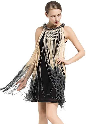 kayamiya Women's Art Deco 1920s Gatsby Fringe Prom Party Flapper Dress Ombre M Beige