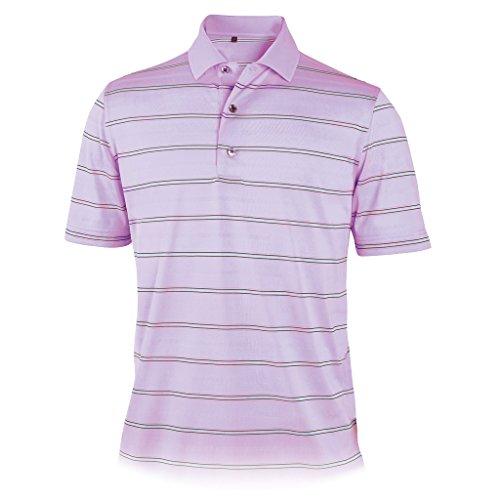 Monterey Club Men's Thompson Stripe Texture Polo Shirt #1669 (Sweet Lavender/Ice, Large)