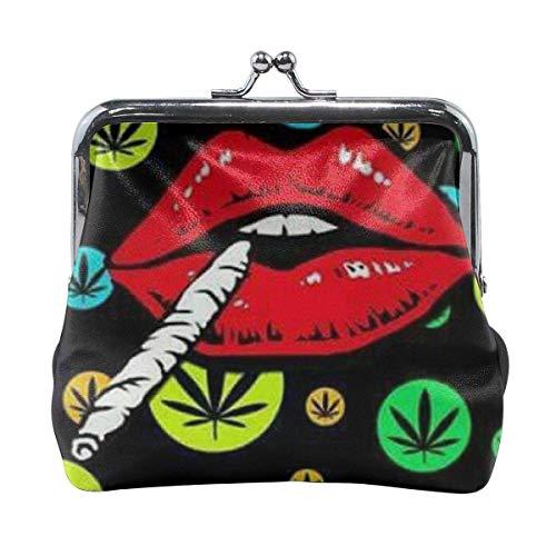 TYDhey Colorful Marijuana Weed Leaf and Smoking Lip Monederos con Hebilla clásica Monederos de Cuero con Cierre de Beso
