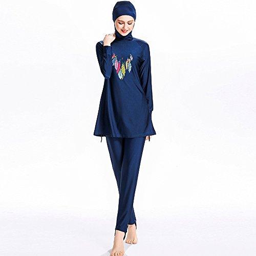 Frauen muslimischen Bademode Mädchen zurückhaltenden Islamische Hijab Burkini Badeanzüge Burkini, blau, M