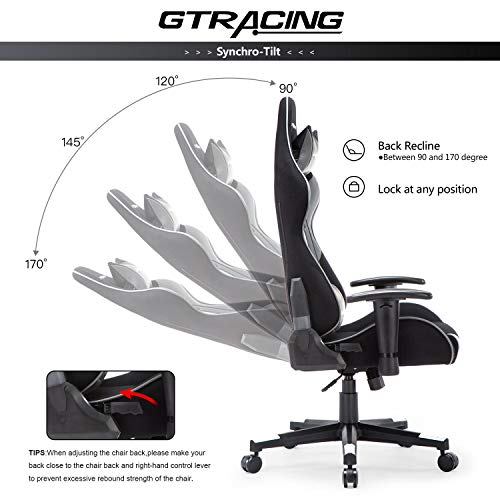 GTRACING Gaming Chair Fabric Computer Racing Office Chair PU & Mesh High Back Backrest and Height Adjustable E-Sports Ergonomic Chair with Pillows GT000 Gray