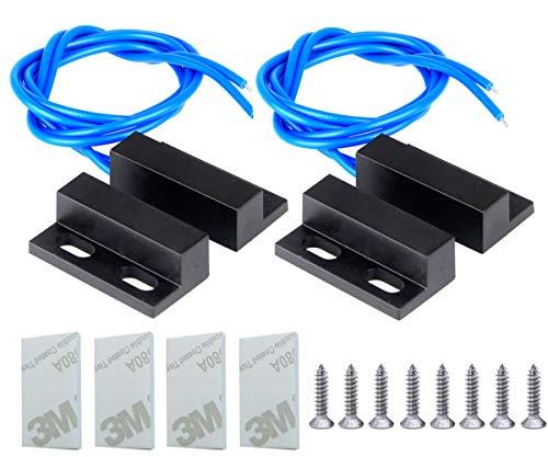 Gebildet 100 V-240 V Empotrado Seguridad Ventana Puerta Sensor de Contacto Alarma Interruptor de lengüeta Magnético, Interruptor Magnético Normalmente Abierto con Cable Azul (2 Juegos)