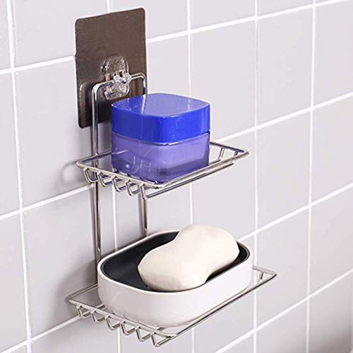 Bhajan Double Layer Soap Dish Holder Adhesive Wall Mount Stainless Steel Waterproof Kitchen Bathroom Soap Storage Rack faucet Bath Water Self Adhesive Magic Sticker (Silver)