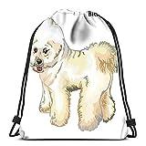 Mochila con cordón para deportes, diseño de perro Bichon Frise, color blanco, para la escuela, gimnasio