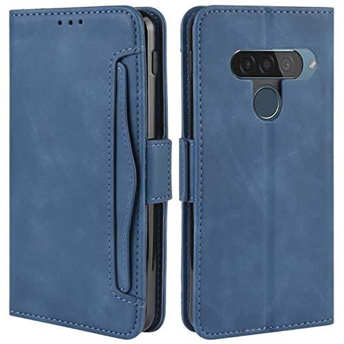 HualuBro Handyhülle für LG G8S ThinQ Hülle Leder, Flip Hülle Cover Stoßfest Klapphülle Handytasche Schutzhülle für LG G8S ThinQ Tasche (Blau)