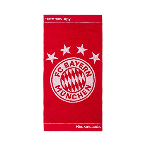 Bayern München Duschtuch - Emblem - 180 x 90 cm Strandtuch, Badetuch kompatibel FCB - Plus Lesezeichen I Love München