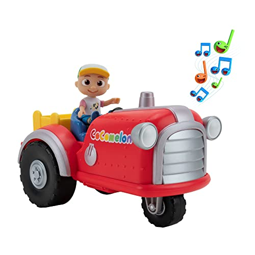 """Cocomelon Official Musical Tractor w/ Sounds & Exclusive 3-inch Farm JJ Toy, Plays Clip of """"Old Macdonald"""" Song Plus More Sounds and Phrases"""