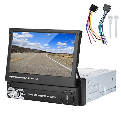 Qiilu Lettore MP5 per auto universale, lettore DVD MP5 per auto da 7 pollici HD telescopico singolo Din FM Radio Stereo Bluetooth U Disk(Lo schermo scorre automaticamente)