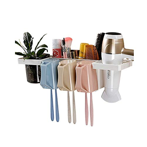 Tandenborstelhouder, Muurbevestiging Tandenborstelhouderset met tandpasta Dispenser/Borstel Slots En Haardroger Houder Handig en Ruimtebesparend