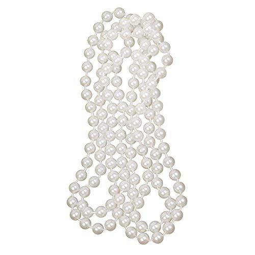 TOOGOO Collar De Perlas Artificiales Largo Accesorio De Joya Blanca para Disfraz De Chica Moderna 1920S