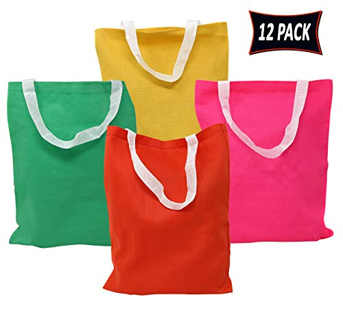 Party Gift Tote Bags Colorful Party Bags 12 Pack - Rainbow Colors Non Woven Fabric Tote Bags With Handles For Party Favors, Goodie Bags, Arts And Crafts