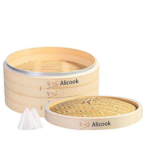 GCE ¡El Mejor Amigo de la Comida China Saludable en la Cocina!Vaporera de bambú Natural Hecha a Mano Profunda Ideal para albóndigas Dim Sum Bollos deliciosos mariscos al Vapor y Tus verdura