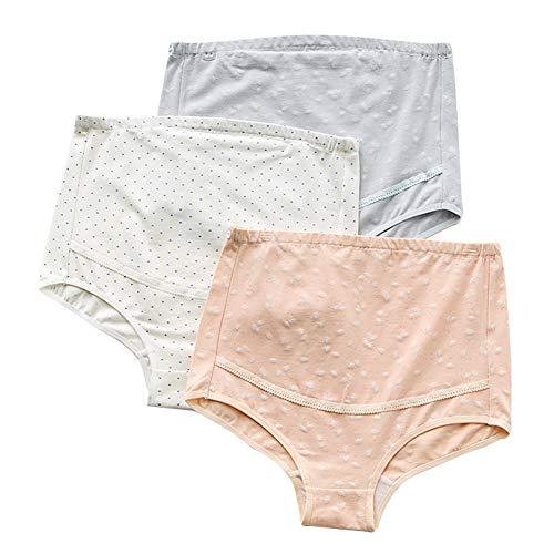 FEOYA Zwangerschap Slips Ondergoed Katoen Hoge taille Onderbroek Buikondersteuning Verstelbaar Slipje Panty 3-pack