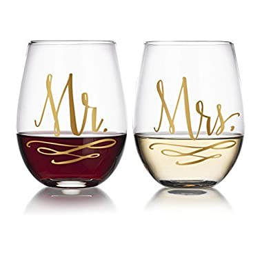 Gold Mr/Mrs Stemless Wine Glasses (2pk) 20oz Gift for Engagement Wedding Married Couples by Fine Occasion