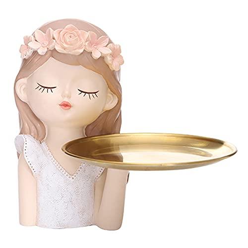 N/A/a Escultura Moderna de estatuilla de niñas para el hogar, Sala de Estar, Adorno, Regalo de inauguración de la casa, Estatua de niña, Bandeja de - Pelo Largo