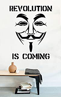 Wall Decals Guy Fawkes Anonymous Mask Revolution is Coming Vinyl Decor Stickers MK0672