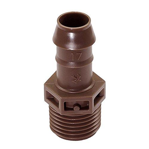 Rain Bird Tuyau goutte-à-goutte Dripline XFD 16 mm, 33 cm – Régulation de pression + autonettoyant, 2,3 l/h hors terrain, connecteur XFF coudé en T adaptateur (XFF-MA-050 Adaptateur 1/2 AG)